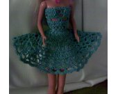 Blue Tinsel Thread Crocheted Barbie Strapless Party Dress Kit