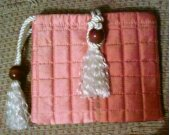 Quilted Satin Purse Handbag With Tassel and Bead Closure Fastener and Wrist Loop