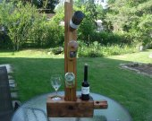 Wine tree--rustic reclaimed barn wood beam, one-of-a-kind handmade wine rack for wedding, birthday or anniversary; holds up to 5 bottles