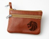 Seven Lions Logo Leather Zippered Coin Bag Key Pouch