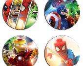 Lego Super Heroes Set Of 4 Wood Drink Coasters
