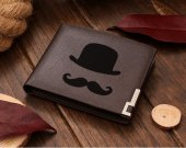 Face Fancy Moustache Motorcycle Club  Leather Wallet