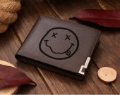 NIRVANA smiley rock band Leather Wallet