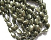 genuine pyrite  beads 10x14mm ,high quality teardrop onoion flat  iron golden gemstone jewelry beads --2strands 56pcs