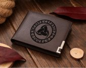 Triple Horn of Odin Rune Circle Leather Wallet