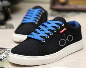 Glasses with Lightning Bolt Canvas Sneakers Sport Casual Shoes