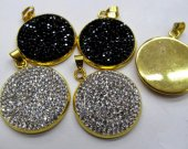 28mm 100pcs wholesale pave metal spacer &cubic zirconia crystal roundel button disc black silver charm  jewelry beads--ring