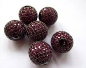 AAA grade  16mm 2pcs pave metal spacer &cubic zirconia crystal green purple oranger rose blue mixed charm  jewelry beads