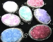 new arrive Druzy Druzzy Drusy Crystal rhinestone  round oval teardrop nuggets rainbow charm pendant 25-60mm 2pcs