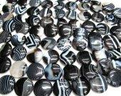 high quality  30mm 2strands natural Black  brown sardonyx gemstone coin disc jewelry bead