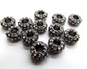 wholesale 5x12mm 100pcs rondelle rhinestone  crystal bead metal spacer silver gold gunmetal grey assortment  jewelry beads