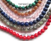 10mm 6strands - Turquoise Green - Labradorite - Moonstone - Rose Quartz - Red Coral - Lapis Lazuli bead