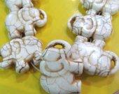 larger 15x20-30x40mm full strand  turquoise gemstone handmade carved elephant animals blue white red  jewelry pendant bead