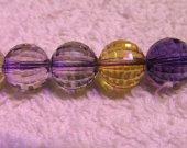 handmade rock crystal quartz 12mm 16inch strand,purple yellow  round ball jewelry beads necklace