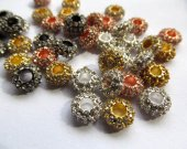 wholesale 5x10mm 48pcs rondelle rhinestone  crystal bead metal spacer silver gold gunmetal grey assortment  jewelry beads