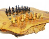 wood oriental chess set handmade gift idea  , jeux d'chec en olivier