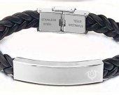 Fire Emblem Exalt Symbol Leather Stainless Steel Bracelet