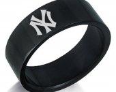 New York Yankees Baseball Black Stainless Steel Ring