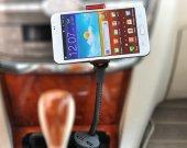 Flexible Car Phone Holder Stand Bracket Mount Vehicle Cigar Lighter With 2 Usb Port For Phone Width 0.7^3.9