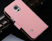New 2015 Vintage Leather Case For Samsung Galaxy S5 Mini G800 Wallet Style Phone Bag With Stand Card Holders 6 Colors Pink^pink
