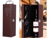 The Punisher PU Leather Wine Case Box with accessories
