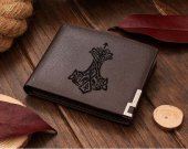VIKING Thors Hammer Thunder NORSE ASATRU MJOLNIR Leather Wallet