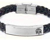 Bioshock Charge Vigor Leather Stainless Steel Bracelet