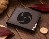 Samurai Mitsudomoe Symbols Leather Wallet