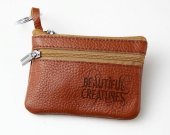 Beautiful Creatures Leather Zippered Coin Bag Key Pouch