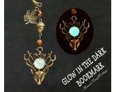 GLOW in the dark bookmark, Handmade bookmarks, Deer Elk Fall Brown Rustic bronze Unique, Reader, Readers, Him, Her, Gift