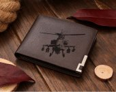 Boeing AH-64 Apache Helicopter Leather Wallet
