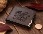 Heraldic Dragon Passant Leather Wallet