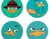 Perry the Platypus Phineas and Ferb Set Of 4 Wood Drink Coasters