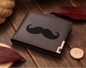 Mustache Leather Wallet