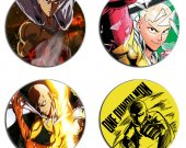 One Punch Man Set Of 4 Wood Drink Coasters