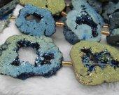 Geniune Druzy agate,titanium quartz,Drusy  20-60mm full strand  slab freeform  mystic blue Assortment Jewelry  bead
