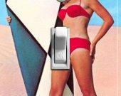 SURFER GIRL vintage poster switch plate (single)