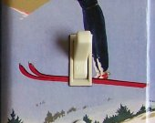 SKI JUMP Soaring Vintage Ski Poster Switch Plate (single)