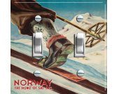 NORWAY Vintage Ski Poster Switch Plate (double)