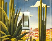 MEXICO CACTUS Vintage Travel Poster Switch Plate (single)