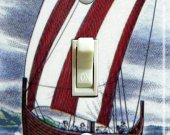 VIKING Ship Vintage Travel Poster Switch Plate (single)
