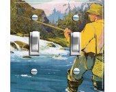 FLY FISHING Vintage Swedish Poster Switch Plate (double)