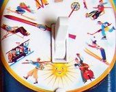 SWISS CLOCK Vintage Ski Poster Switch Plate (single or double)