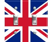 BRITISH Union Jack Flag Switch Plate (double)