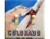 COLORADO Tops Vintage Ski Poster Switch Plate (double)