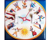 SWISS CLOCK Vintage Ski Poster Switch Plate (double)
