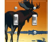 MOOSE in Sunset Vintage Poster Switch Plate (double)