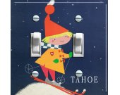TAHOE or TRUCKEE GIRL Vintage Ski Poster Switch Plate (double)