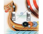 Scandinavia VIKING Ship Vintage Travel Poster Switch Plate (double)