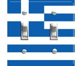 GREEK Flag Double Switch Plate